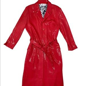 St John Couture Ruby Red Sequin Trench Size 16